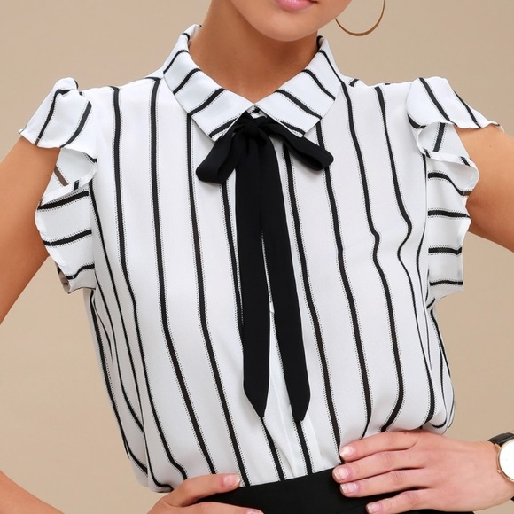 0c0f78a108a Lulu's Tops | Lulus Burke Black And White Striped Tie Neck Top ...